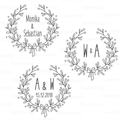 piecxątka ślubna z wiankiem z gałązek i  kokardą
