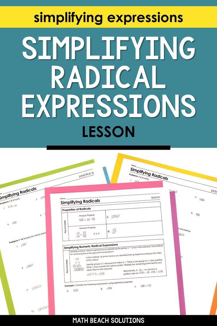 Simplifying Radicals Lesson Simplifying Radicals Simplifying Expressions Simplifying Radical Expressions