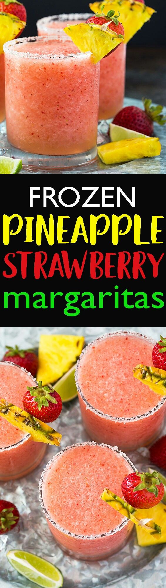FROZEN PINEAPPLE STRAWBERRY MARGARITAS #recipe #cocktails #cocktail #cheers #party #drinks #Frozen #margarita #margritas