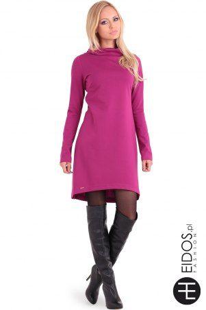 Sukienka EVA amarantowo - fioletowa z kolekcji  jesień/zima marki Eidos Fashion - eidos.pl