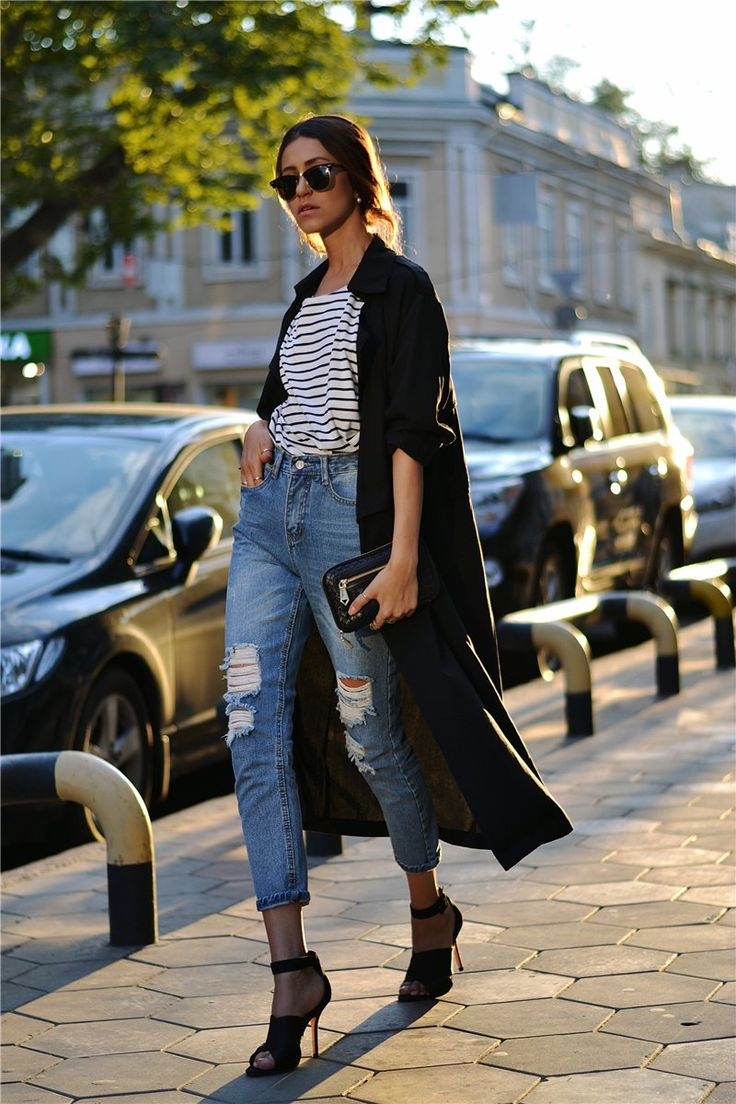 Stripes #street #style #jeans #black