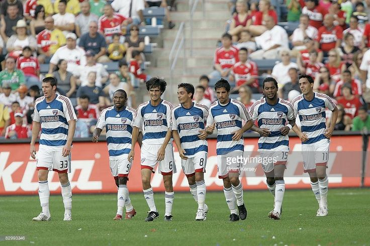 Kenny Cooper #33, Jeff Cunningham #9, Pablo Ricchetti #6, Bruno Guarda #8, Marcelo Saragosa #5, Adrian Serioux #15, and Andre Rocha #11 of FC Dallas run up the field after Guarda scored a goal against the Chicago Fire during the first half at Toyota Park on September 21, 2008 in Bridgeview, Illinois. FC Dallas won 4-1