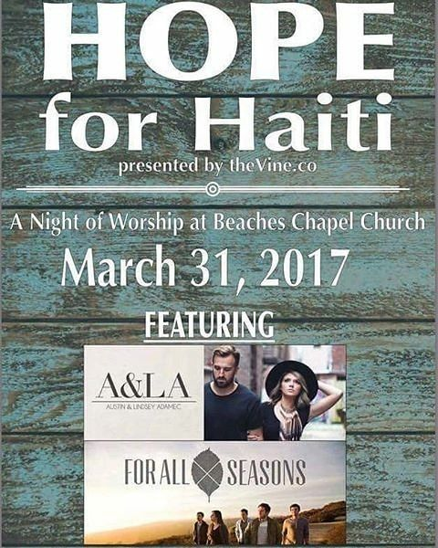@Regrann from @thevine.co -  FREE CONCERT - HOPE for Haiti a Night of Worship at Beaches Chapel Church Friday March 31. Doors open at 6:00 PM - #regrann  #mission #igersjax