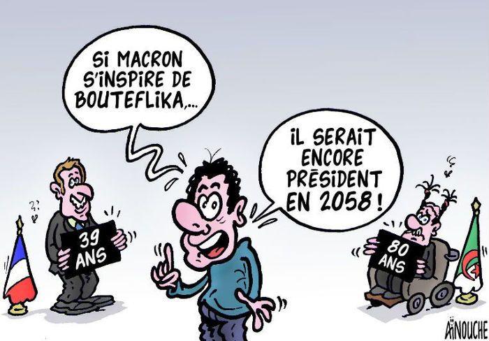 Aïnouche (2017-05-09) France - Algérie : Macron, Bouteflika ÷÷÷ Caricature de Aïnouche du 09-05-2017   Presse-dz