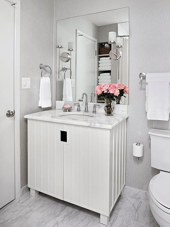 Sconces on mirror for front bathroom cute vanity