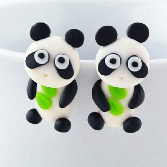 Cartoon 3D Panda Animal Earrings Cartoon 3D Panda Animal Earrings   Polymer Clay Stud Earrings ideal for adult or older children!   Get your pair today!  B10 Jewelry Earrings