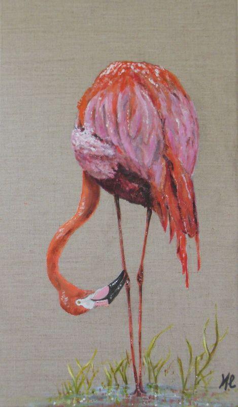 Le flamant rose peinture d 39 oiseau l 39 acrylique sur une toile de lin mat riaux utilis s for Peinture acrylique meuble