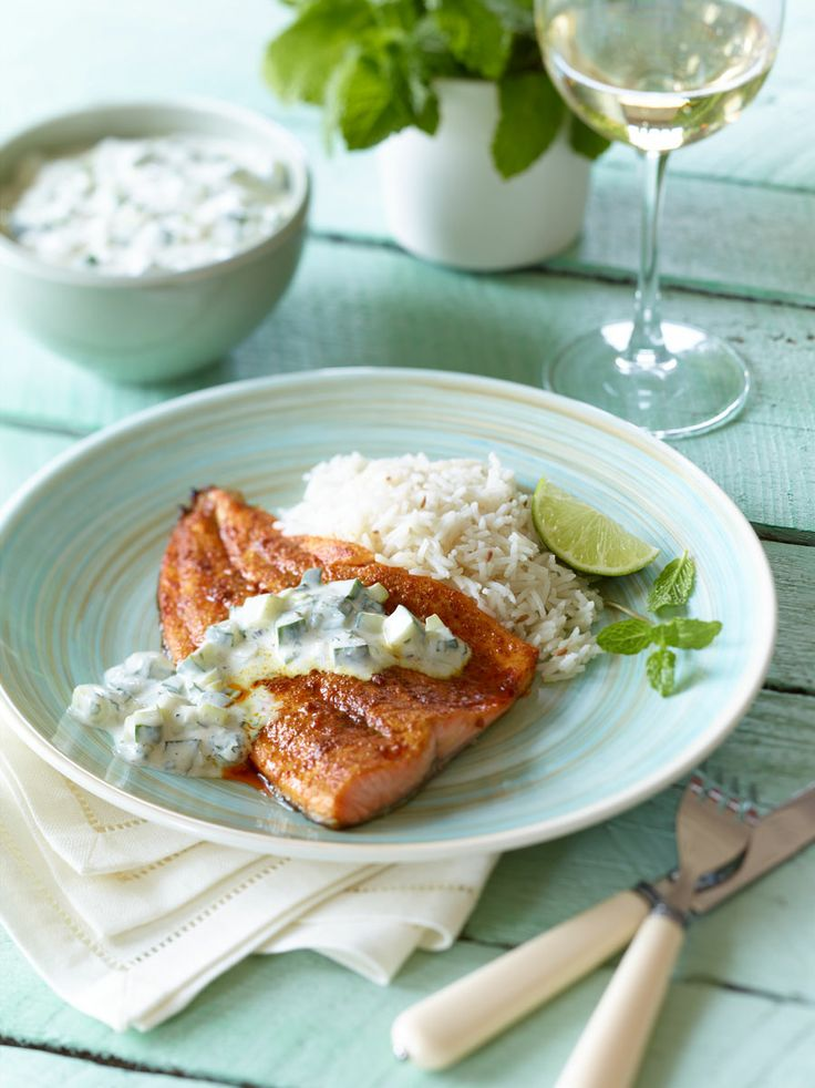 Entree Food Photography of Indian Spiced Trout with Ontario Greenhouse Cucumber Raita [BP imaging - Bochsler Photo Imaging]