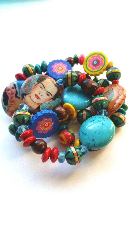 Colorful Frida Kahlo Bracelets Set, Women of Mexico, Boho Folk Stretch Bracelets, Colorful Wood Beaded Stretchy Bracelets, Frida & Guadalupe by polishedtwo on Etsy