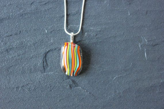 Striped glass fused pendant by GlassJewelleryByJ on Etsy