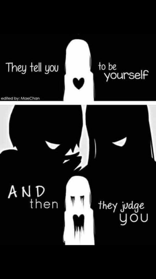 They tell you to be yourself, and then they judge you, sad, text, Anime girl, crying, blood, bullies, heart, bleeding; Anime