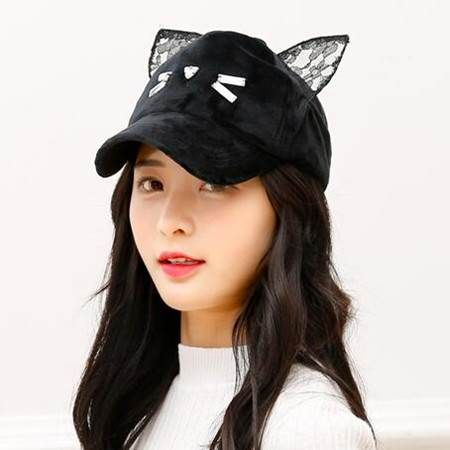 cute cat baseball cap ears girls winter plush hats black ear ebay