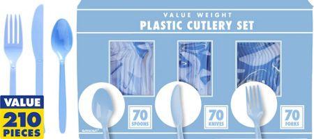 Pastel Blue Cutlery Set 210pc - Party City