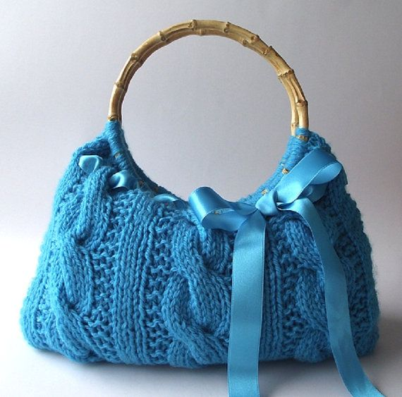 Handmade Knitting Bag Pattern : KNITTING BAG PATTERN Handbag with Lace Ribbon - Lucia Bag ...