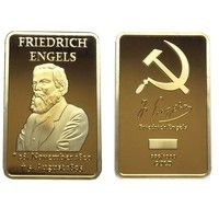 Wish | 1820-1895 Friedrich Engels Marxism 999/1000 Gold Plated & Clad Bars Commemorative Gifts (Size: 44mm by 28mm by 3mm, Color: Gold)