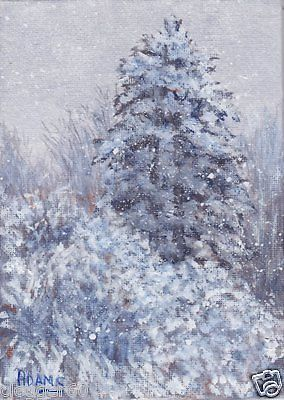 Snow Covered Evergreens Bushes Snowflakes Original SFA 5x7 Painting Pat Adams.  Available paintings can be seen in my Ebay store at: http://stores.ebay.com/Pat-Adams-Art-Paintings-and-Photos