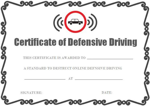 defensive driving certificate onlines | safe driving certificate ...
