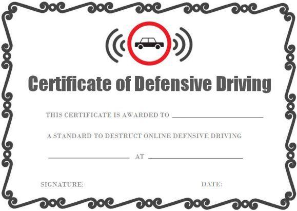 Defensive Driving Certificate Onlines Certificate