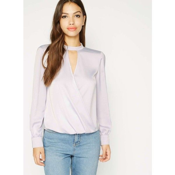 Miss Selfridge Lilac Choker Wrap Blouse ($68) ❤ liked on Polyvore featuring tops, blouses, lilac, white wrap top, fancy white blouses, dressy blouses, white blouse and wrap tops