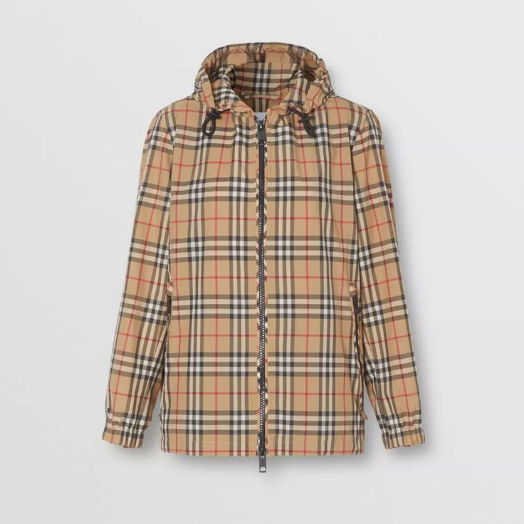 Vintage Check Recycled Polyester Hooded Jacket in Archive Beige - Women | Burberry United States Burberry Jacket, Heritage Brands, Quilted Jacket, Street Style Women, Hooded Jacket, Hoods, Rain Jacket, Raincoat, Jackets For Women