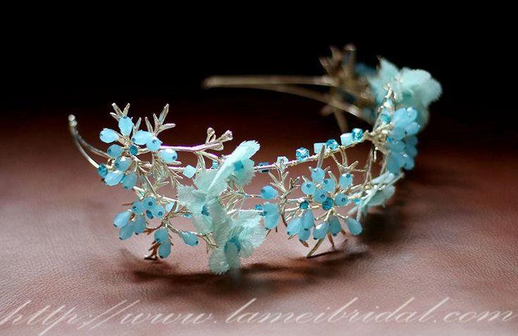 Light blue Whimsical Flower Crown ,  Princess Wedding Headband , Blue Bridal Crown ,fairy Tiara , Prom Circlet Headpiece,Boho flower vine by LAmei on Etsy