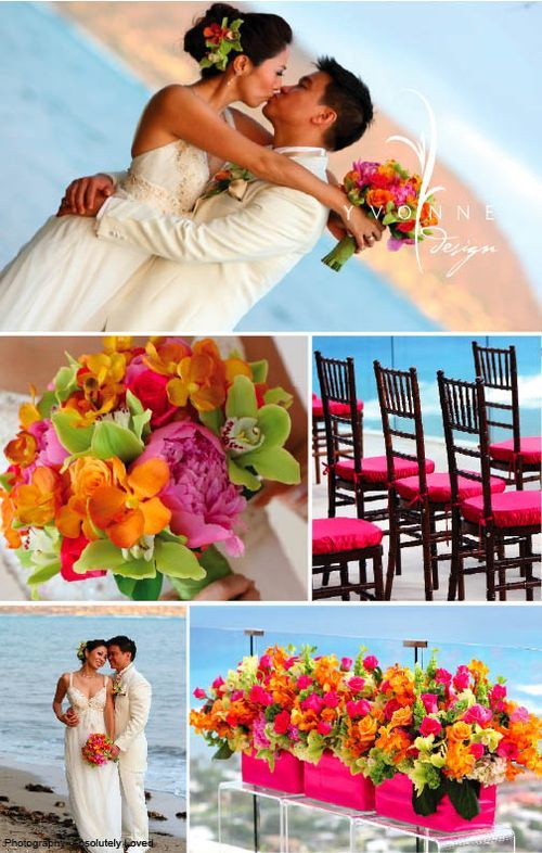 vibrant wedding flowers.  Love these colours and not just for a beach wedding.