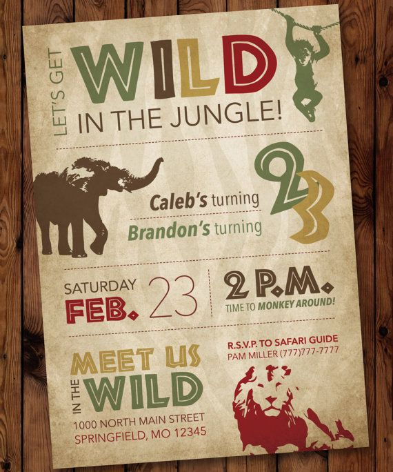 321 best animal party invitations images on pinterest | reptile, Birthday invitations