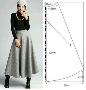 Midi length classic skirt pattern Falda larga clásica con patrón