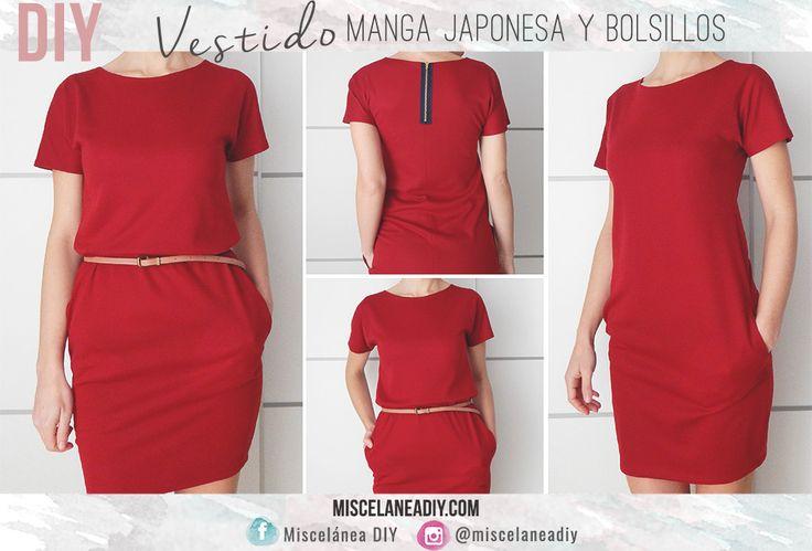 DIY sewing | Easy Dress | Vestido fácil de hacer con manga japonesa y bolsillos