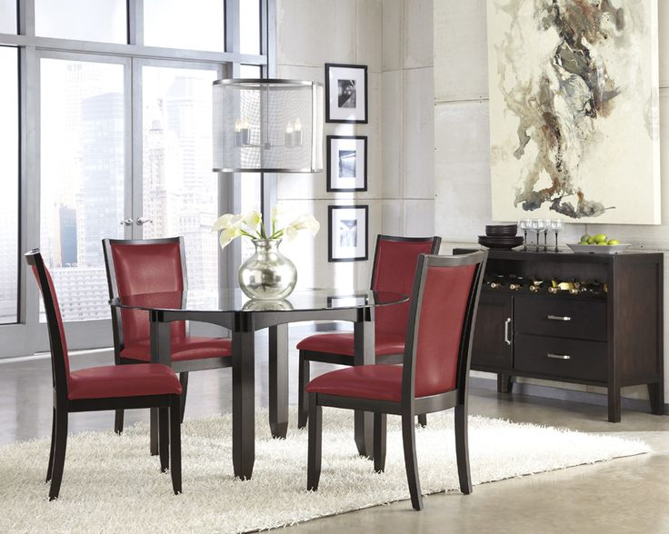 Glass Table Pictured W Red Chairs 36 Server Grey Dining