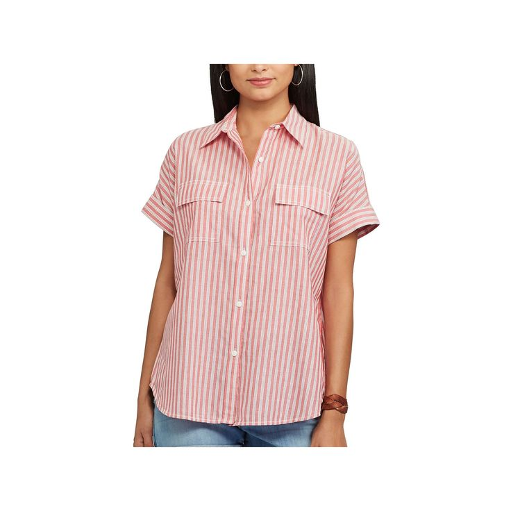 Women's Chaps Striped Oxford Shirt, Size: Medium, Red