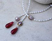 necklace pearls wine drop agate