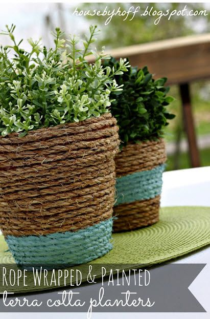 Rope-Wrapped Terra Cotta Pots. Would be cute in the house instead of baskets.