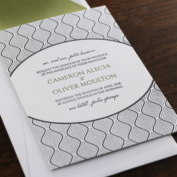 letterpress wedding invites london%0A Scintilla by Checkerboard  letterpress wedding invitation in black and  olive ink