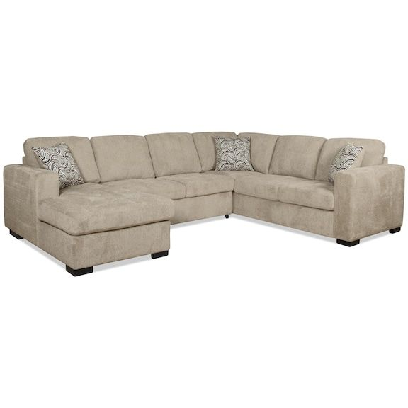 Izzy 3 Piece Chenille Left Facing Sectional With Sofa Bed Platinum The Brick Corner Sofa Bed With Storage Sofa Bed Corner Sofa Bed