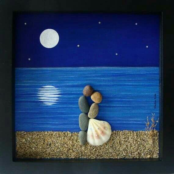 A painted background, some rocks and a seashell and look what an awesome picture this makes. From do-it-yourself decorating ideas on Facebook.