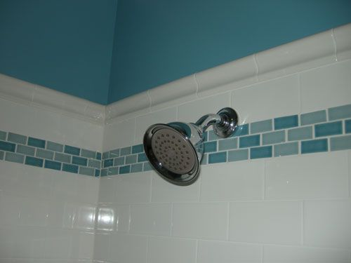White Subway Tile With Mosaic Tile Accent Shower Mosaic Tile Designs Bathroom Tile Mosaics