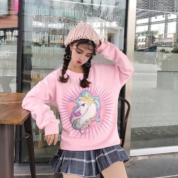 Kawaii Unicorn Long Sleeved Sweatshirt – OhMyKawaiiShop.com