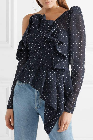 3abcc141c4523 Self-Portrait - One-shoulder Ruffled Swiss-dot Chiffon Top - Midnight blue   affiliate