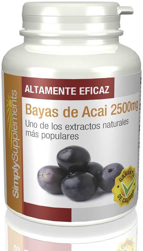 Suplementos de Bayas de Acai  La baya de Acai es una fruta con muchos beneficios y contiene altas cantidades de polifenoles.  Altas cantidades de polifenoles Frecuente en dietas de pérdida de peso Extracto 100% natural