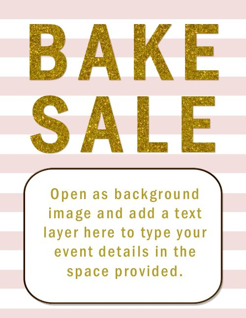 blush pink and gold bake sale flyer