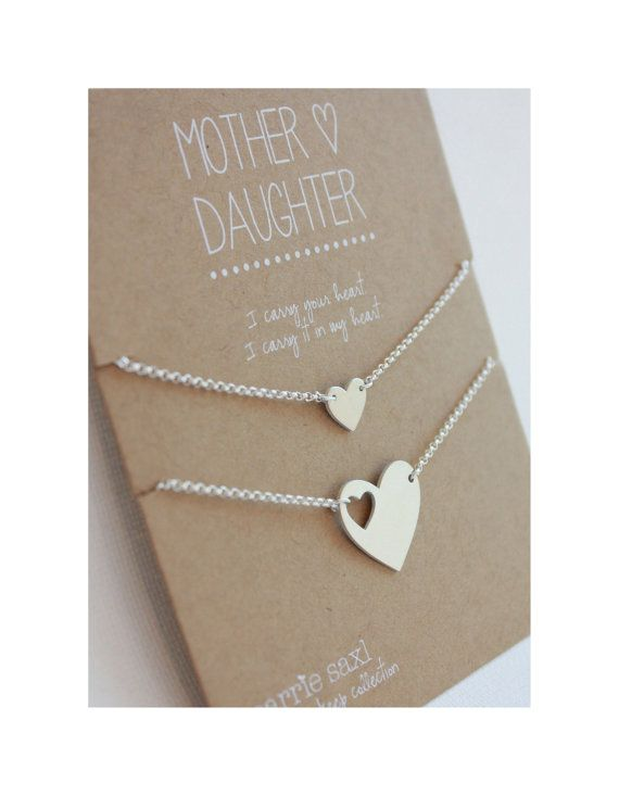 Mother Daughter Bracelet Set - silver hearts - mother's day - mom bracelet - mother daughter jewelry - personalized - jewelry gift - wedding