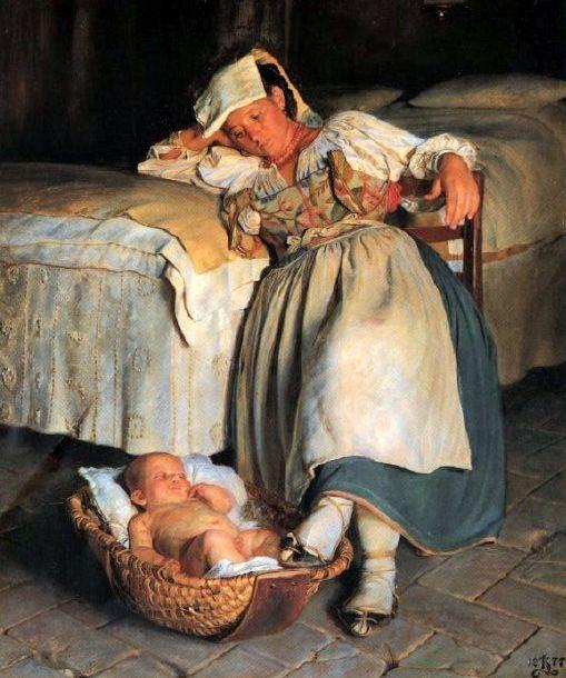 Kristian Zahrtmann (1843 – 1917, Danish); some things never change...like how tired she is!