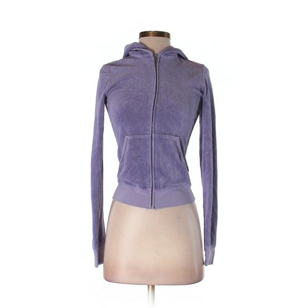 Pre-owned Juicy Couture Zip Up Hoodie Size 0: Purple Women's Tops ($28) ❤ liked on Polyvore featuring tops, hoodies, purple, hooded zip up sweatshirt, purple zip up hoodie, zip up tops, sweatshirt hoodies and purple hoodies