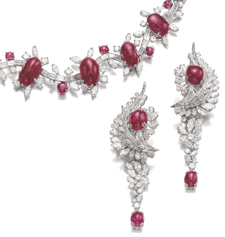 Ruby and diamond demi-parure, René Sim Lacaze - detail - Sotheby's.