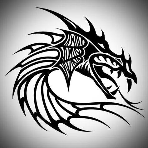Dragon Head Tribal Tattoo Designs