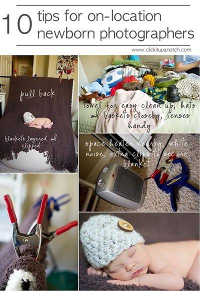 On-location newborn photography tips via Click it Up a Notch