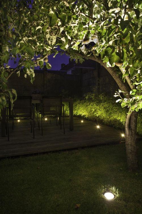 Houten vlonder gemarkeerd door grondspot DB-LED. De perenboom wordt verlicht door LED grondspot NERO die in het gras is verwerkt. #tuinverlichting #buitenverlichting #terras #vlonder #boom #buitenspot