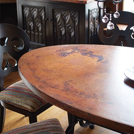 Copper 52 X 90 Oval Dining Table With Iron Arabesque Base