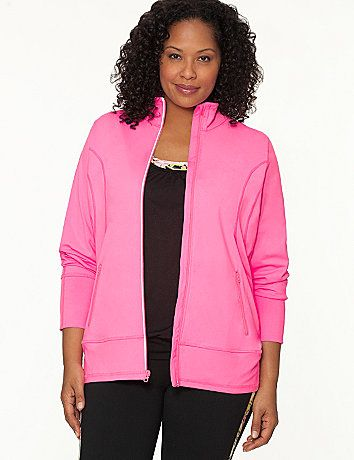 Essential layering before, during and after your workout, fashion meets function in this flattering active jacket with TruDry performance technology. #LaneBryant